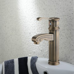 Single Handle Centerset Antique Brass Finish Wood-like Bathroom Sink Faucet  F0486