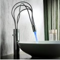Contemporary Chrome Finish Single Handle LED Bathroom Sink Faucet(Tall) F-0458F