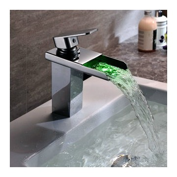 Bathroom Sink Faucet Single Handle contemporary solid brass single handle led waterfall bathroom sink
