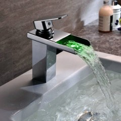 Contemporary Solid Brass Single Handle LED Waterfall Bathroom Sink Faucet Chrome Finish F-0510F