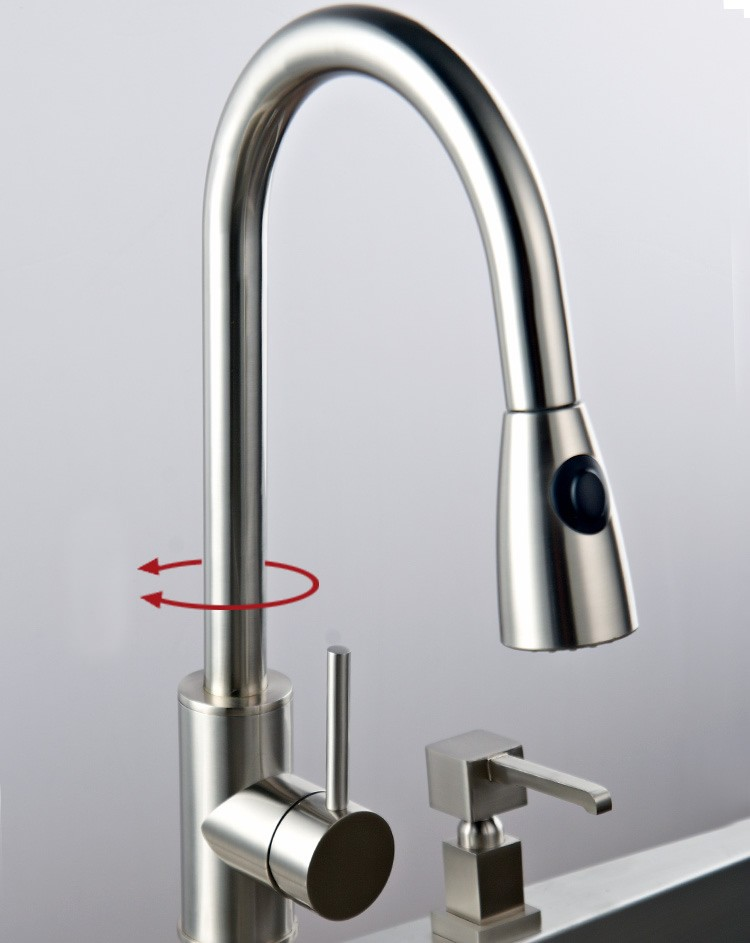 Faucet Kitchen : ... Down Kitchen Faucet - Nickel Brushed Finish 0759 - Faucets Online Shop
