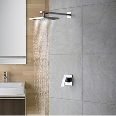 Chrome Wall Mount Rain Single Handle Shower Faucet SC013