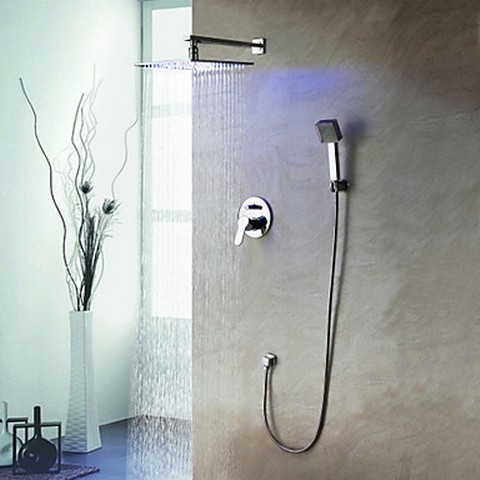 Amazing ... Solid Brass LED Shower Faucet With 10 Inch Shower Head + Hand Shower  SF011 ...