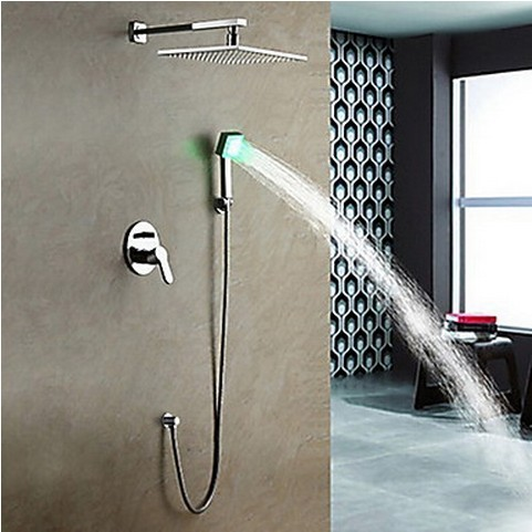 Great ... Solid Brass LED Shower Faucet With 10 Inch Shower Head + Hand Shower  SF011 ...