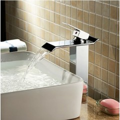 Contemporary Brass Bathroom Sink Faucet - Chrome Finish (Tall)  F6001H