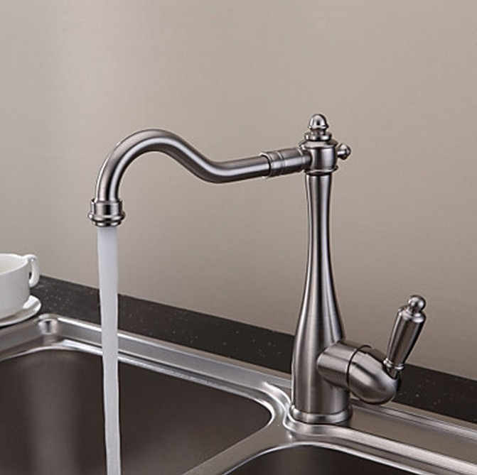 vintage style nickel brushed curve design kitchen faucet