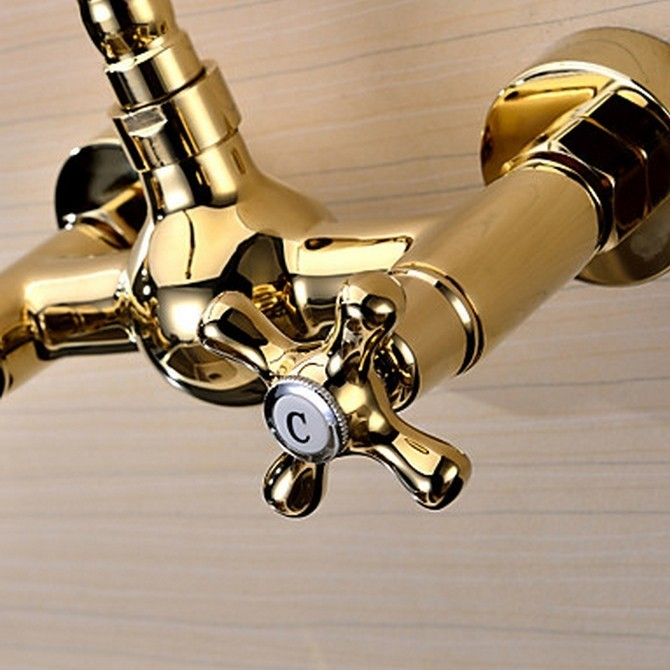 Ti-PVD Finish Solid Brass Wall Mount Centerset Kitchen Faucet ...