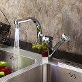 Contemporary Color Changing LED Pull Out Kitchen Faucet-Chrome Finish F0790F