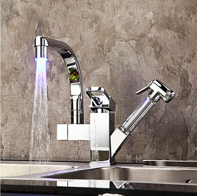 Contemporary Color Changing Led Pull Out Kitchen Faucet Chrome Finish F0790f