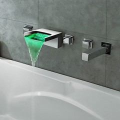 Thermochromic Chrome Finish LED Waterfall Bathroom Tub Faucet F8042