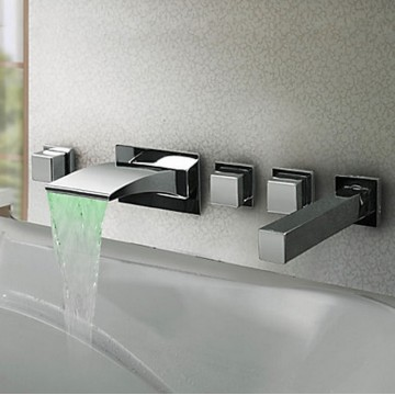 Thermochromic Contemporary Chrome Finish LED Waterfall Bathroom Tub Faucet F8043