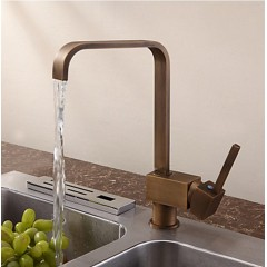 Antique Inspired Solid Brass Kitchen Faucet - Antique Brass Finish F0718A