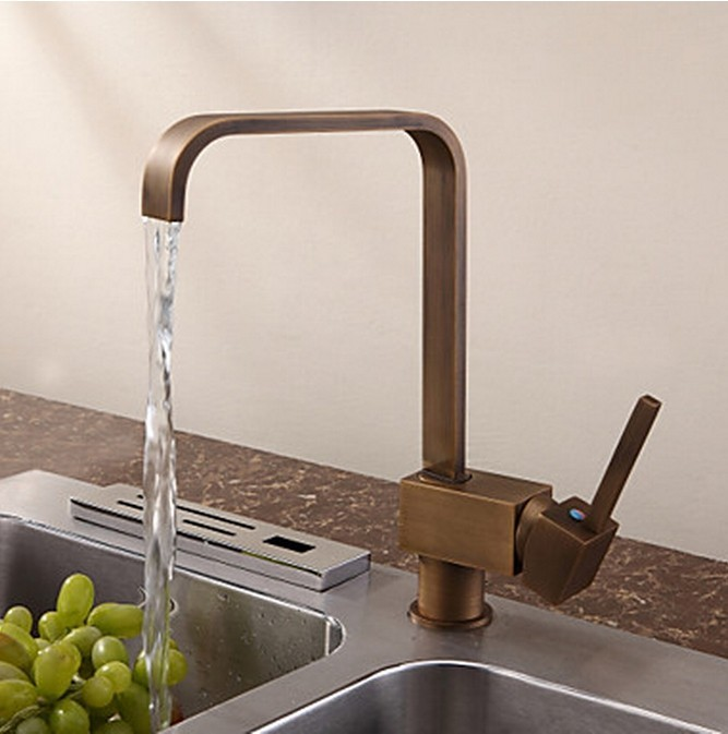 Antique inspired solid brass kitchen faucet antique for Robinet cuisine laiton