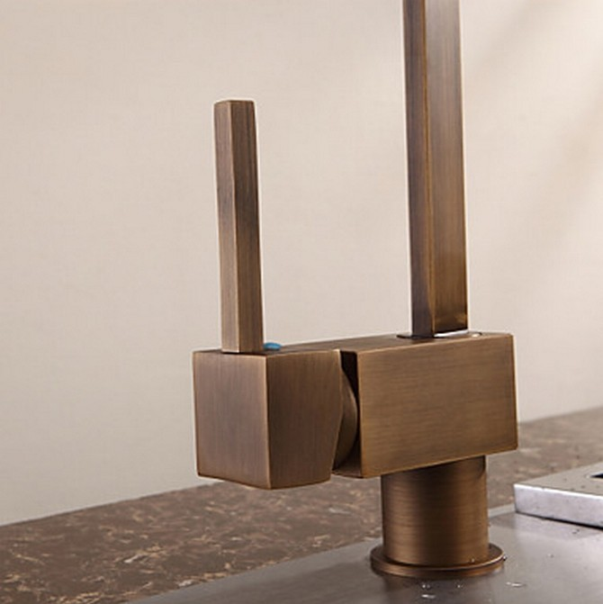 Marvelous ... Antique Inspired Solid Brass Kitchen Faucet   Antique Brass Finish  F0718A ...