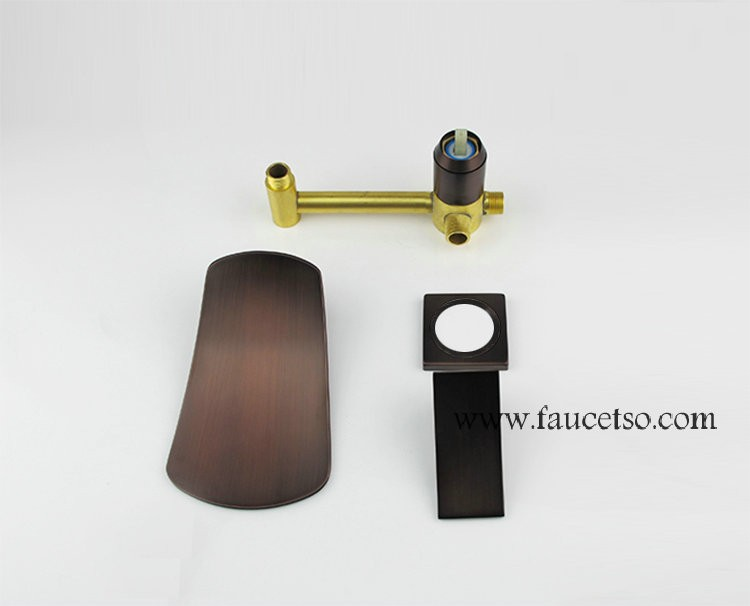 Waterfall Widespread Contemporary Bathroom Sink Faucet Oil Rubbed Bronze Finish F0615br