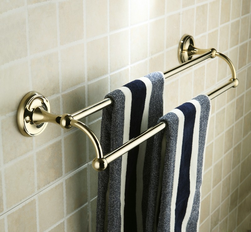 antique brass ti pvd wall mounted double towel bar fgb6902