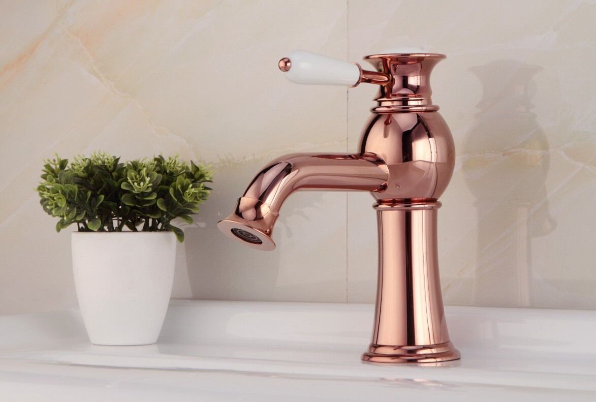 brass bathroom sink faucet rose gold fa14028b