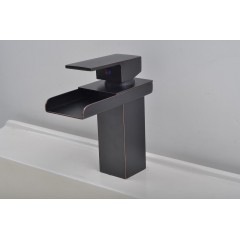 Bathroom Sink Faucet in Modern Style Single Handle Waterfall Bathroom Sink Faucet (Oil-rubbed Bronze) FA0510B