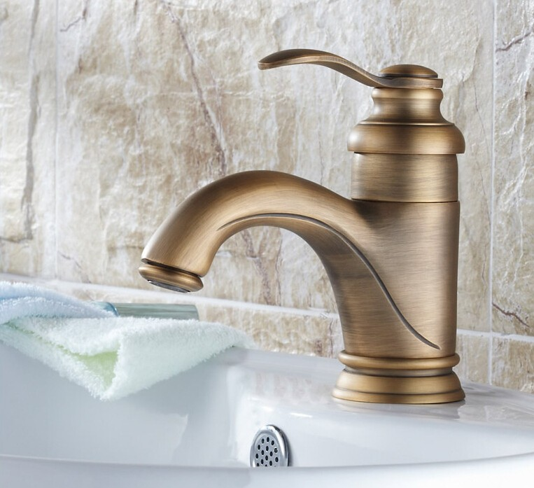 Antique Inspired Bathroom Sink Faucet - Antique Brass Finish FA0599 ...