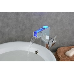 Bathroom Sink Faucet with Color Changing LED Waterfall Faucet (Tall) FA0616AF