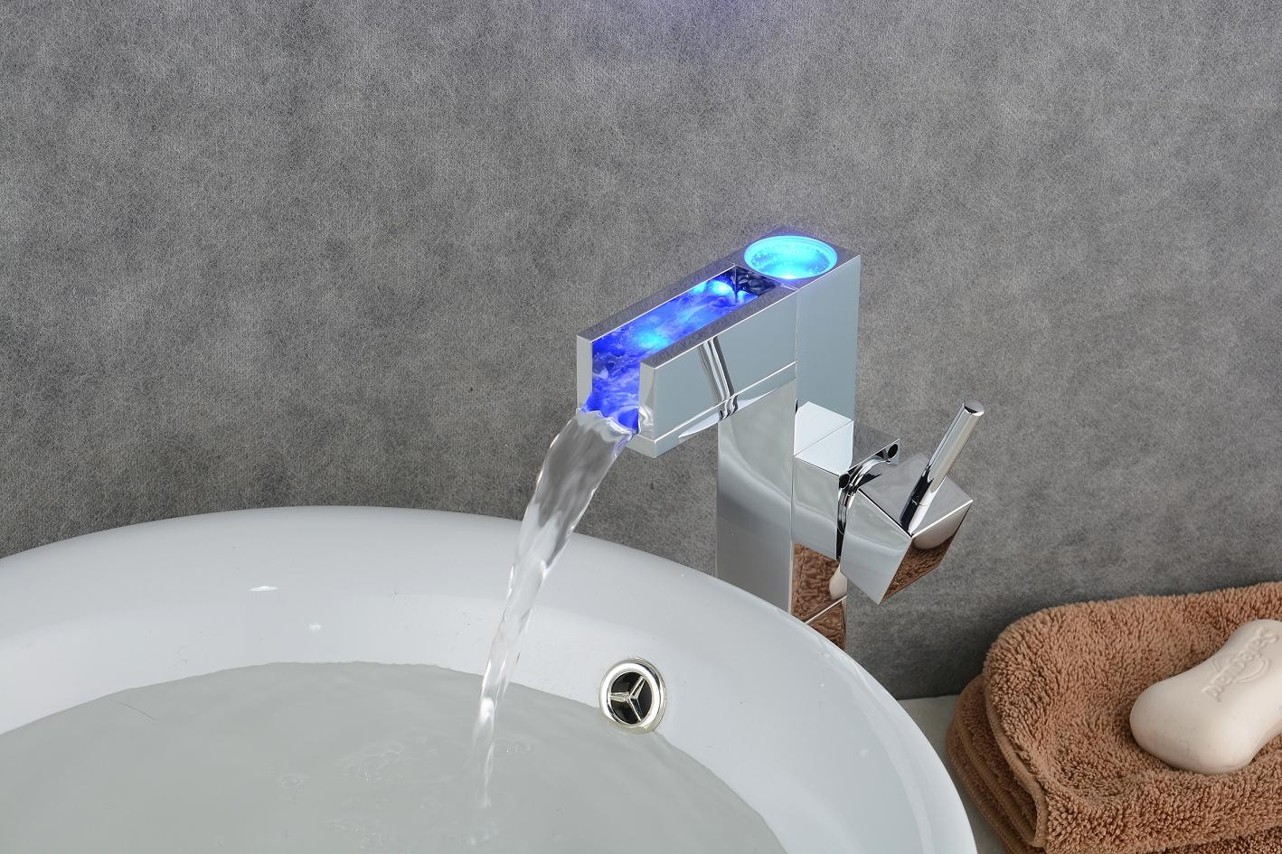 Bathroom Sink Faucet with Color Changing LED Waterfall Faucet (Tall on change bathroom sink pipes, change kitchen faucet, change bathtub faucet, change single hole sink faucet,