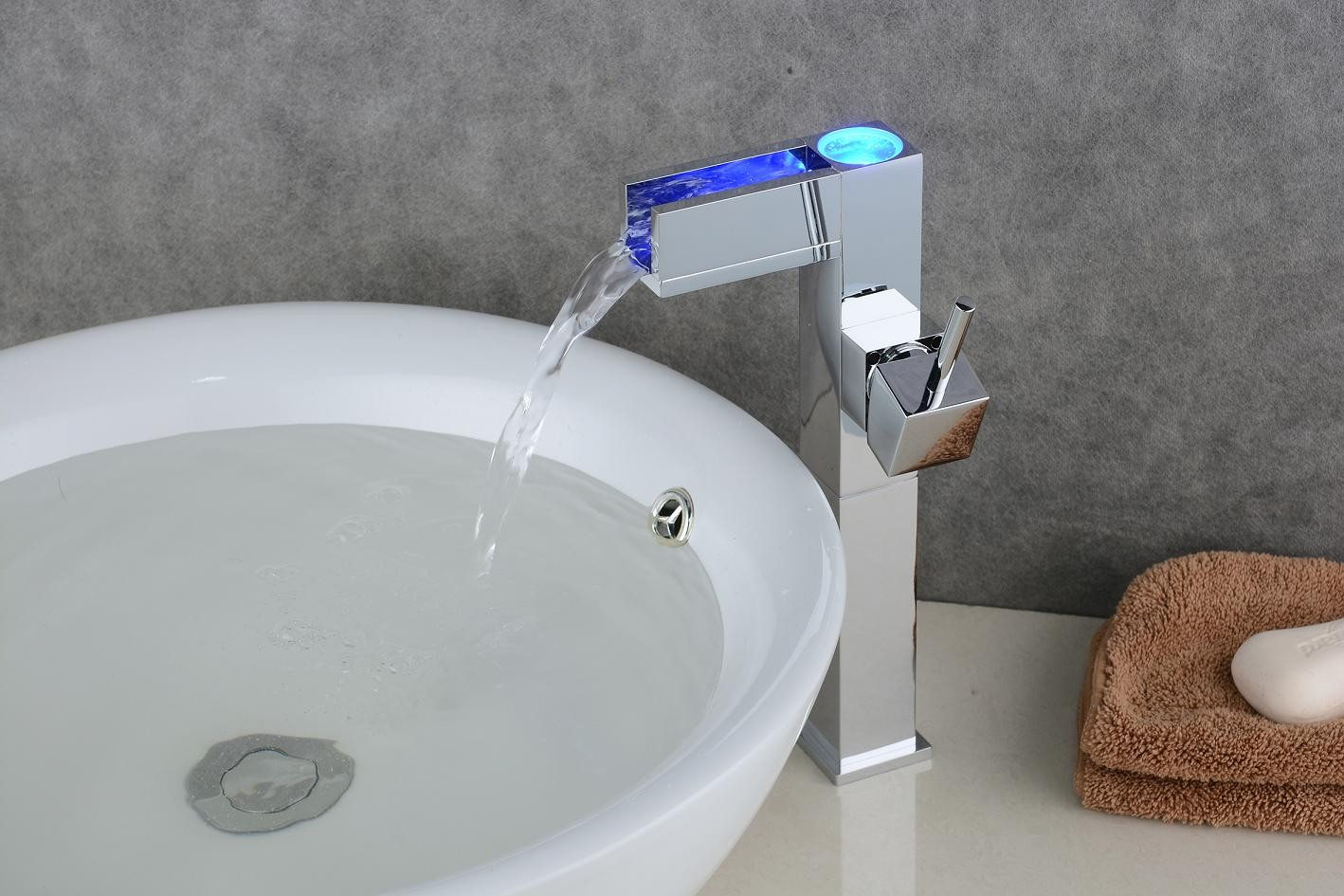Bathroom Sink Faucet with Color Changing LED Waterfall Faucet (Tall ...