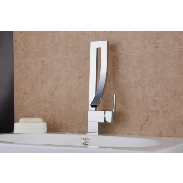 Contemporary Chrome Finish Brass One Hole Single Handle Bathroom Sink Faucet FA15001