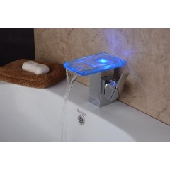 Contemporary Chrome Color Changing LED Bathroom Sink Faucet FA08186FP