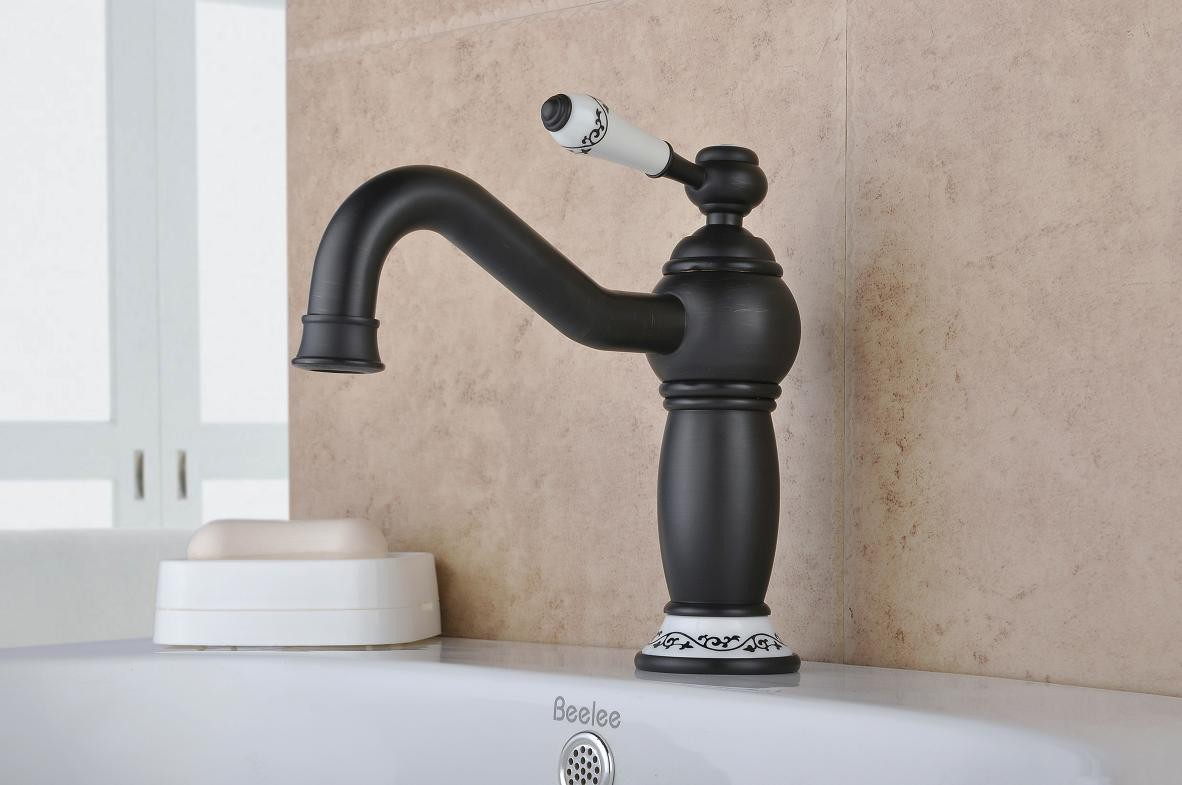 Oil-rubbed Bronze One Hole Single Handles Bathroom Sink Faucet ...