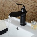 Contemporary Elegant Large Wide-mouth Waterfall Oil-rubbed Bronze Finish Bathroom Sink Faucet (Short)  FA0610B