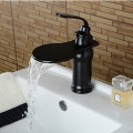 Contemporary Elegant Large Wide-mouth Waterfall Oil-rubbed Bronze Finish Bathroom Sink Faucet (Short)  TP0622B