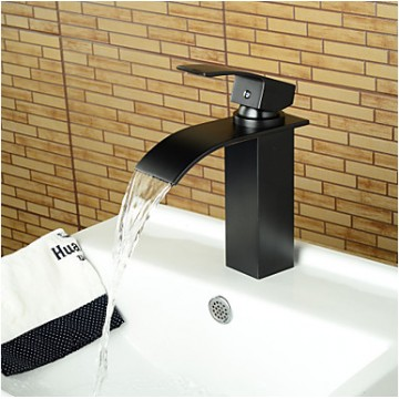 Contemporary Waterfall Oil-rubbed Bronze Bathroom Basin Faucet -Black