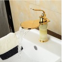 Modern Waterfall Brass Imitation Jade Ti-PVD Bathroom Sink Faucet - Golden FA0612G