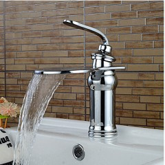 Contemporary Chrome Waterfall Bathroom Sink Faucets  FA6010