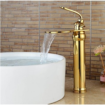 Contemporary Heightening Ti-PVD Waterfall Bathroom Sink Faucets-Gold FA6010HG