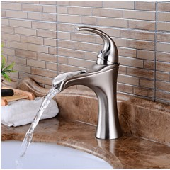 Antique Centerset Waterfall with Ceramic Valve Single Handle One Hole for Nickel Brushed , Bathroom Sink Faucet FA6002N