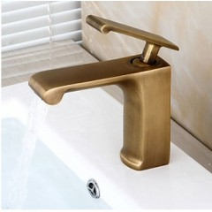 Traditional Centerset Ceramic Valve Single Handle One Hole with Antique Brass Bathroom Sink Faucet  FA1501A