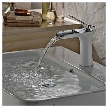 Contemporary Centerset Waterfall with Ceramic Valve Single Handle One Hole for White Painting Bathroom Sink Faucet FA0703W