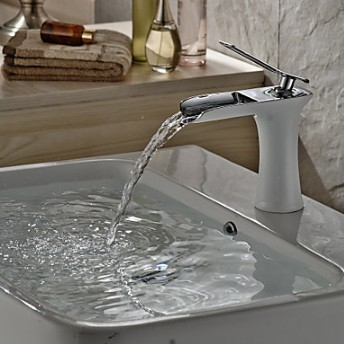 Contemporary Centerset Waterfall With Ceramic Valve Single Handle One Hole Fo