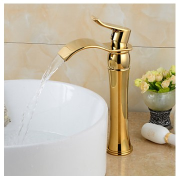 Fashionable Gold-plated Brass Bathroom Basin Faucet - Gold FA6011HG