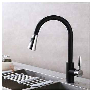 Contemporary Pull-out Deck Mounted Pullout Spray Ceramic Valve Single Handle One Hole Chrome Black Kitchen faucet FA1775B