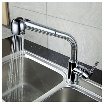 Traditional Bar/­Prep Deck Mounted Pullout Spray with Ceramic Valve Single Handle One Hole for Chrome , Kitchen faucet Bathroom Sink