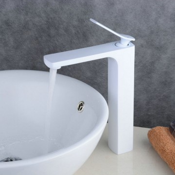 Contemporary Style Painting White Single Handle Single Hole Waterfall Bathroom Basin Sink Faucet FA0538HW