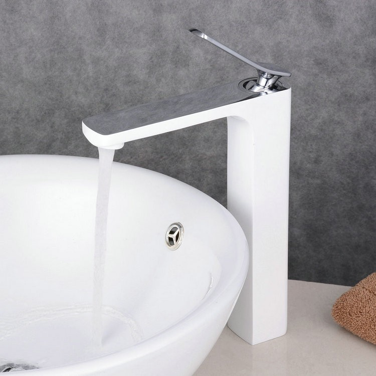 Contemporary Style Painting White Single Handle Single Hole Waterfall Bathroom Basin Sink Faucet