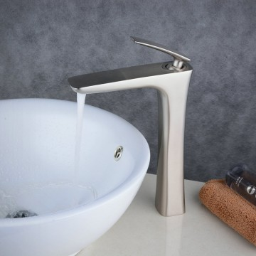 Nickel Brushed Tall Single Handle Lever Bathroom Sink Vessel Faucet FA0539NH