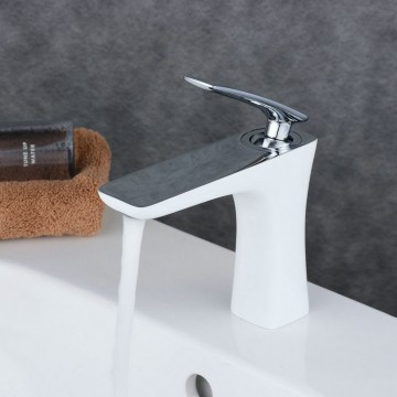 Contemporary Style Painting White Single Handle Single Hole Waterfall Bathroom Basin Sink Faucet FA0539CW