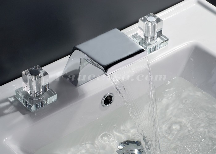 Contemporary Waterfall Bathroom Sink Faucet Chrome Finish Widespread F7002