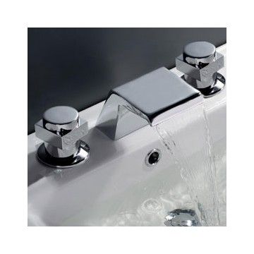 Contemporary Waterfall Bathroom Sink Faucet Chrome Finish Widespread F7005