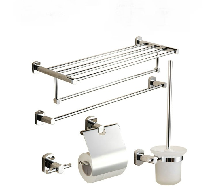 5 Piece Chrome Finish Bathroom Accessory Set