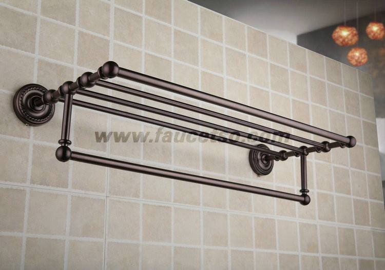 Oil Rubbed Bronze Retro Style 24 Inch Bathroom Shelf With Towel. Towel Bar